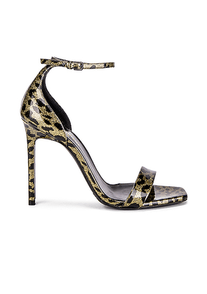 Saint Laurent Amber Leopard Glitter Ankle Strap Sandals in Gold & Black - Animal Print. Size 35 (also in 35.5,36.5,37,37.5,38,39.5,40.5,41,38.5,39).