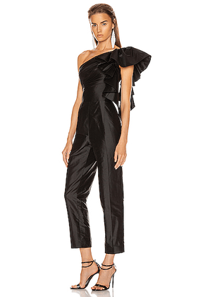 RASARIO Ruffled One Shoulder Jumpsuit in Black - Black. Size 36 (also in 34,40,42).