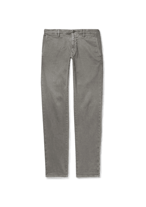 Incotex - Light-grey Slim-fit Textured Cotton-blend Trousers - Gray