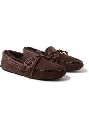 Quoddy - Fireside Leather-trimmed Shearling-lined Suede Slippers - Dark brown
