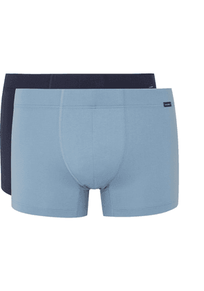 Hanro - Two-pack Stretch-cotton Boxer Briefs - Blue