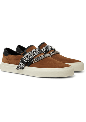 AMIRI - Embellished Leather-trimmed Suede Slip-on Sneakers - Tan