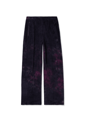 Needles - Tie-dyed Cotton-blend Velour Track Pants - Midnight blue
