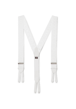 Favourbrook - Leather-trimmed Silk-moire Braces - White