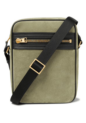 TOM FORD - Leather-trimmed Suede Messenger Bag - Green