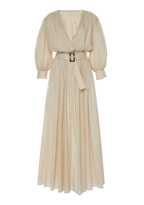 White Story Aphrodite Grecian Pleated Cotton Dress Size: 6