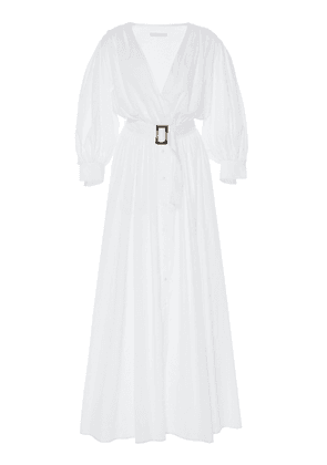 White Story Aphrodite Grecian Pleated Cotton Dress Size: 10
