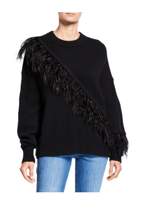 Merritt Wool Pullover Sweater with Feathers