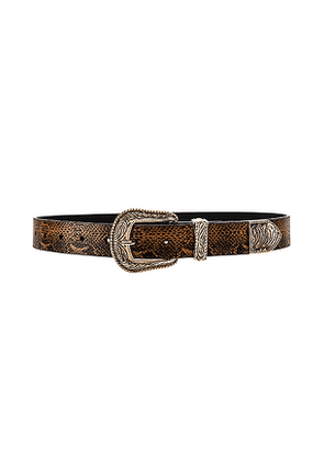 Lovers + Friends Venom Snake Belt in Brown. Size M,S,XS.