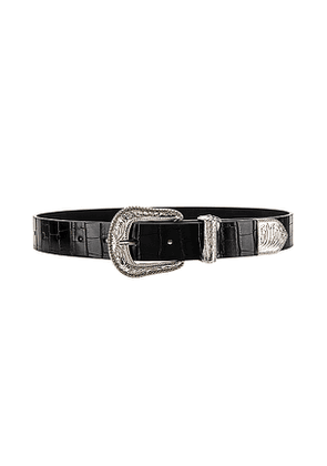 Lovers + Friends Venom Croco Belt in Black. Size M,S,XS.
