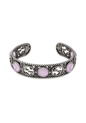 Silver bracelet with Interlocking G and flowers