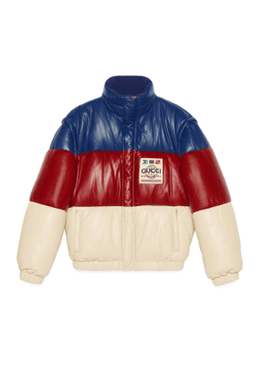 Padded leather jacket with patch