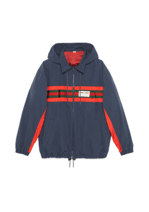 Nylon jacket with Web and Gucci label