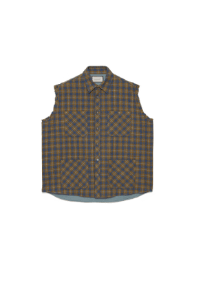 Check wool vest with label