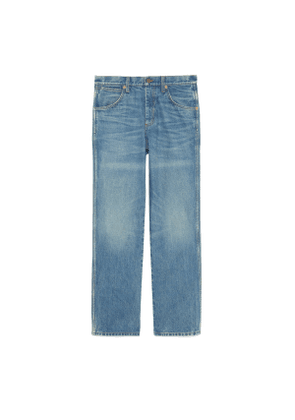 Marble washed denim trousers