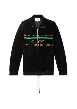 Gucci - Logo-embroidered Cotton-blend Velvet Zip-up Sweatshirt - Black
