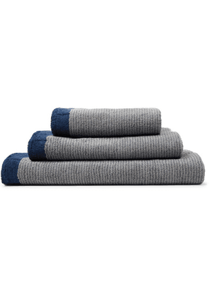 Cleverly Laundry - Set Of Three Striped Cotton-terry Bath Towels - Navy