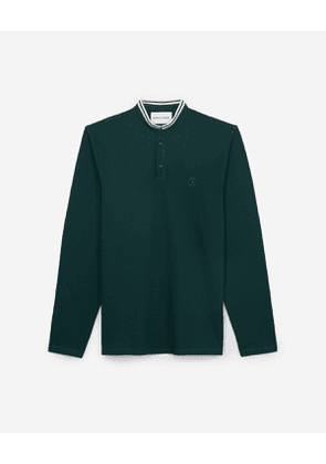 The Kooples - green cotton pique polo with long sleeves - ver