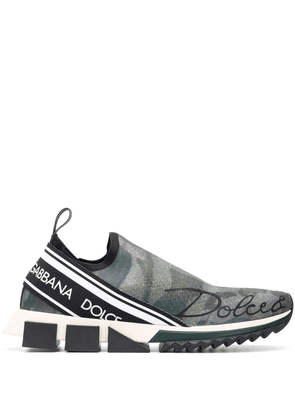 Dolce & Gabbana printed low top logo trainers - Green