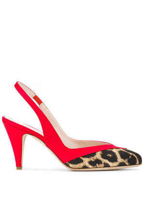 Gia Couture leopard print slingback sandals - Red