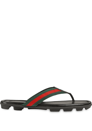 Gucci Web and leather thong sandal - Black