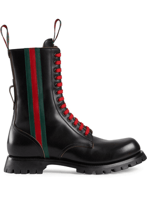 Gucci Black leather boot with Web