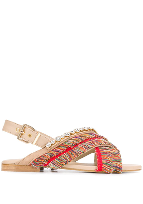 Emanuela Caruso fringed open-toe sandals - NEUTRALS