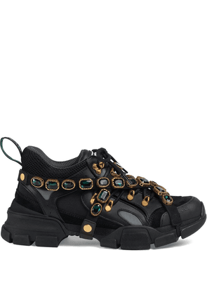 Gucci Flashtrek leather sneaker with crystals - Black
