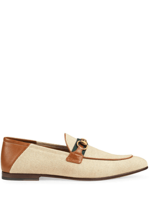 Gucci Moccasin for men with horsebit and Web - NEUTRALS