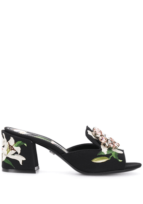 Dolce & Gabbana Gem encrusted floral sandals - Black
