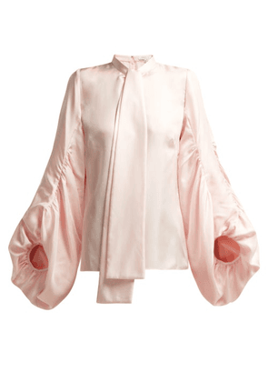 Andrew Gn - Gathered Balloon-sleeve Silk Blouse - Womens - Light Pink