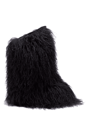 Saint Laurent - Shearling And Leather Knee-high Moon Boots - Womens - Black