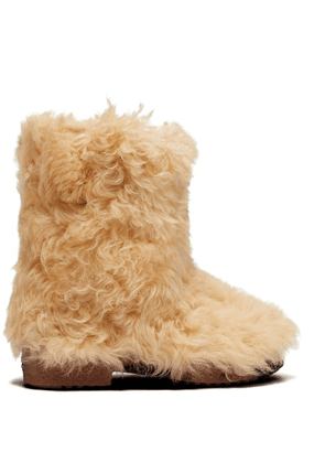 Saint Laurent - Shearling Ankle Boots - Womens - Cream