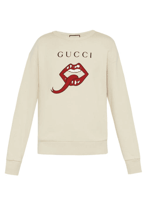 Gucci - Lip And Logo Print Cotton Sweatshirt - Mens - White