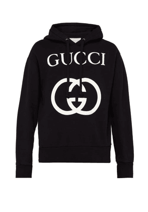 Gucci - Gg Loop Back Cotton Hooded Sweatshirt - Mens - Black White