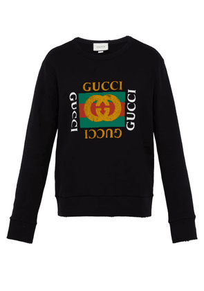 Gucci - Distressed Effect Logo Print Cotton Sweatshirt - Mens - Black