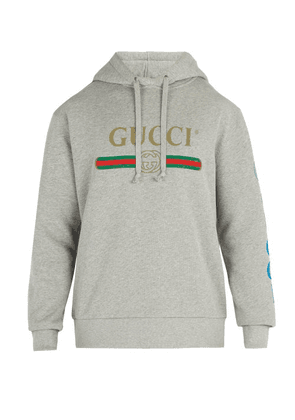 Gucci - Gucci Dragon And Logo Hooded Sweatshirt - Mens - Grey