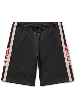 Gucci - Webbing-trimmed Tech-jersey Shorts - Black