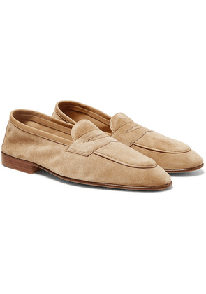 Edward Green - Polperro Leather-trimmed Suede Penny Loafers - Neutral