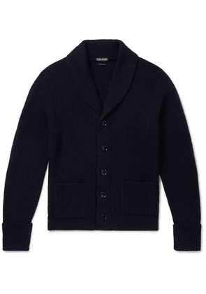 TOM FORD - Slim-fit Shawl-collar Ribbed Cashmere Cardigan - Navy