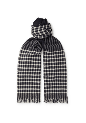 Begg & Co - Rona Fringed Checked Herringbone Cashmere Scarf - Navy