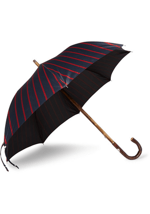 Francesco Maglia - Striped Chestnut Wood-handle Umbrella - Navy