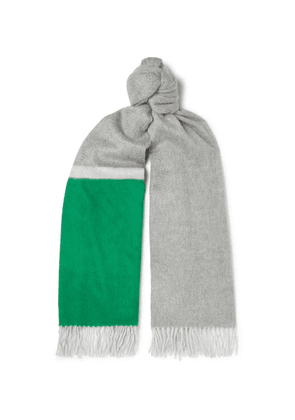 Begg & Co - Arran Fringed Colour-block Cashmere Scarf - Green