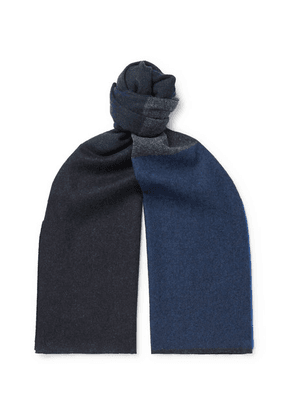 Begg & Co - Vigo Striped Wool And Cashmere-blend Scarf - Navy