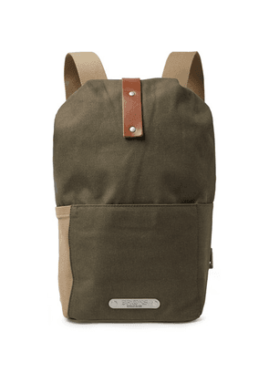 Brooks England - Dalston Small Leather-trimmed Canvas Backpack - Army green