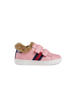 Toddler Ace leather sneaker with faux fur
