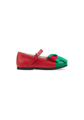 Toddler leather ballet flat with Web bow