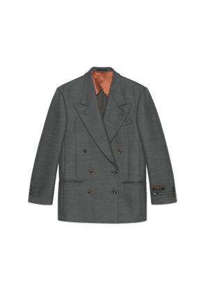 Wool jacket with labels