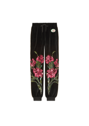Chenille track bottoms with floral patches