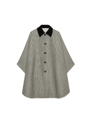 Houndstooth wool cape